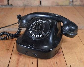 Vintage phone Rotary phone Retro phone Rotary telephone Dial phone Old phone Black phone Bakelite black phone Bakelite telephone Old rotary