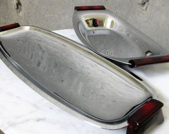 Glo Hill Gourmates Chrome Stainless Serving Trays Dishes Bakelite Vintage 1950s Mid Century Modern