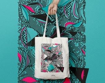 Sac en coton ou tote bag motif iris