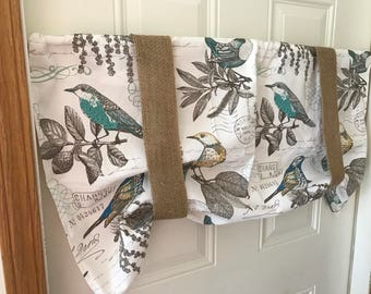 Spring blue bird yellow bird postage stamp  tie up curtain with burlap tie ups
