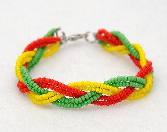 Rasta bracelet braided bracelet Beaded bracelet Hippie jewelry Rastafarian bracelet Beaded jewelry Hippie bracelet Best Friend gift ideas