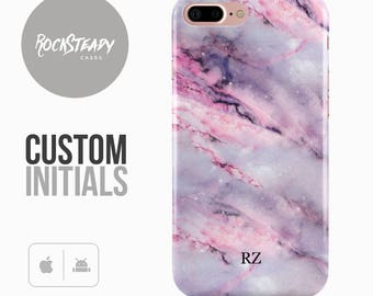 Custom Initials Marble Phone case, purple pink iPhone 7, 6, 6s Plus, samsung S8, S7,  5S, SE personalised phone Case, Galaxy S6, S5 gift UK