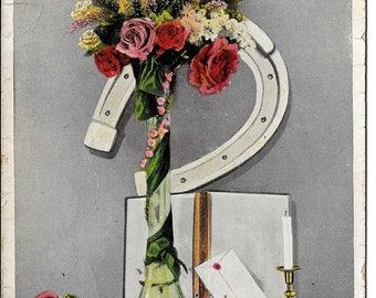 Vintage Christmas Postcard, Flowers Horseshoe Alter, Antique Xmas Post Card, Philco London, King George V, c1910
