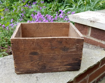 Vintage Wooden Crate, Small Wooden Box, Rustic Storage, Rustic Home or Wedding Decor, Farmhouse Kitchen, Shabby Cottage Chic