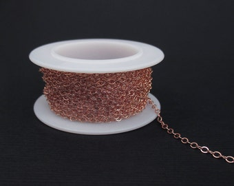 Rose Gold Filled Flat Cable Chain 1.6mm Chain by the Foot, Delicate Chain, Unfinished Chain