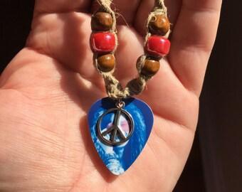 Janis joplin guitar pick pendant hemp necklace