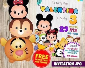 Tsum Tsum  Invitation, Tsum Tsum Party, Tsum Tsum Birthday Invitation,  Tsum Tsum Invitation, Tsum Tsum  Theme Printables, Tsum Tsum