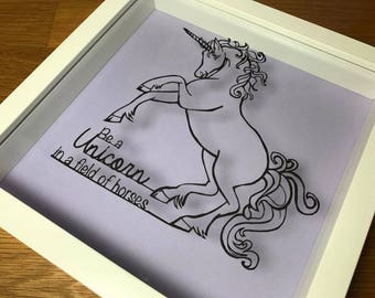 Unicorn quote paper cut out hand made framed