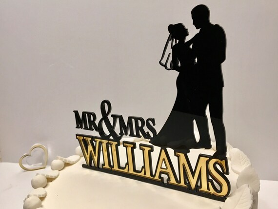 Mr and Mrs cake topper, Unique Wedding Cake Topper, Personalized Acrylic Cake Topper with last name, Bride and Groom Silhouette topper, 04