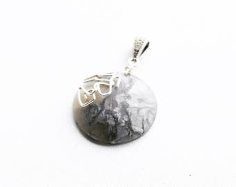 "Abstract Modern Silver Grey Translucent Polymer Clay Pendant, Wire Detail Silver Plated Bail and OPTIONAL 18"" Sterling Silver Snake Chain"