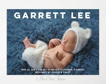 Classic Birth Announcement, Simple Birth Announcement, Name Title Birth Announcement, Boy or Girl, DIY Printable Birth Announcement