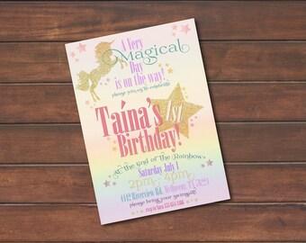 Magical Rainbow Unicorn Birthday Invitation *DIGITAL FILE* (.jpg or PDF)