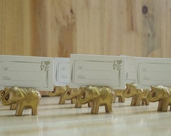 50 x Gold Elephant Wedding Place Card Holder | Wedding | Engagement Party