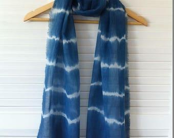 Shibori scarf/wrap/sash indigo dyed cotton gauze