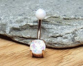 White Fire Opal Belly Button Ring Navel Ring 14 gauge Rose Gold Plated Belly Bar
