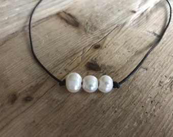 The Truly Necklace {triple pearl necklace}