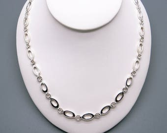 """Handmade Sterling Silver Oval Circle Link Chain Adjustable Necklace 16"""" to 18"""""""