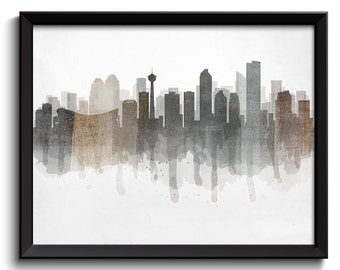 Grey Black Brown Beige Calgary Skyline Alberta Canada Cityscape Art Print Poster Watercolor Painting