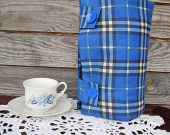 French Press Coffee Tea Pot Cozy Warmer, Coffee Tea Pot Cover, Cotton/polyester Warmer, Blue Plaid