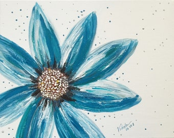 Turquoise Flower on Canvas