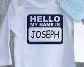 Hello My Name Is... HANDSOME, BEAUTIFUL, [your name] personalized Baby Onesie (long sleeve or short sleeve bodysuit) [new baby gift idea]