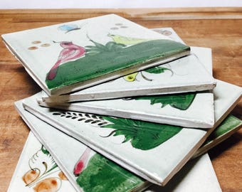 Set of 6 Handpainted Tile Coasters with Birds and Flowers