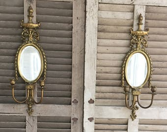 Pair of Vintage Ornate Brass Sconce Candle Holders with Mirror