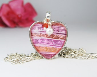 Colorful Pink Heart Pendant Necklace with Pearl and Crystal