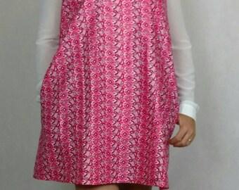 Pink Sleeveless Ankara Dress, Pinafore Ankara Dress, Pinafore Dress, A-Line Dress