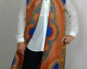 Ankara Jacket Top, Sleeveless Ankara Jacket