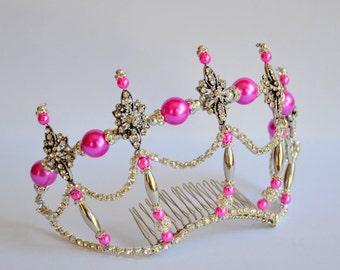Bright pink silver rhinestone handmade crystal tiara, bridal tiara, dancer tiara, silver tiara, pink tiara, wedding tiara, hens tiara