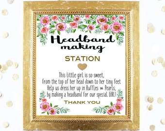 Baby Shower Sign - Headband Making Station 8x10 Sign - Pink Peonies Design a Headband - Printable Instant Digital Download Baby Shower Girl