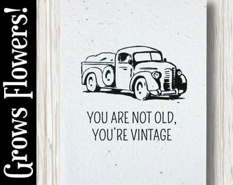 """GROWS WILDFLOWERS! - """"You are not old, you're vintage"""" - Plant the Card - 100% recycled - #BD012"""