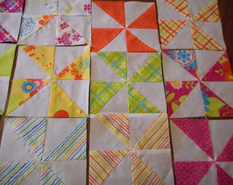 43 Quilt blocks, Brightly colored Pinwheels- New