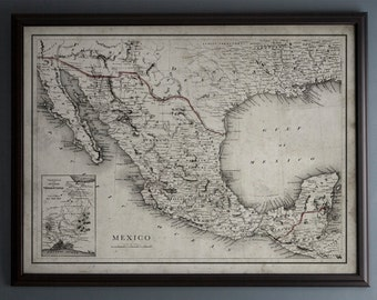 Mexico Map : Vintage Map of Mexico - Circa 19th C. - Weathered Map