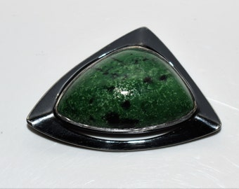 Large Oxidized Sterling Silver Modernist Green Stone Brooch 925 Triangular