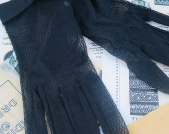 Vintage 1950's Black Lace Dress Gloves-  Size 7.5