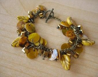 Leafy Golden Dangles Charm Bracelet