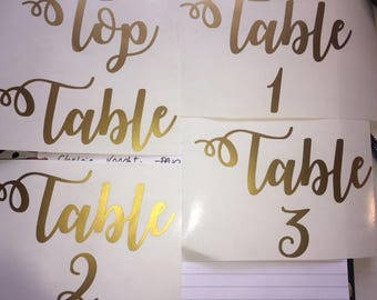 Vinyl decals for Table Names
