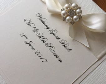 Wedding Guest Book, Personalised Guest book, Wedding Keepsake, Wedding gift, memory book, Wedding Journal, Ivory, Pearl