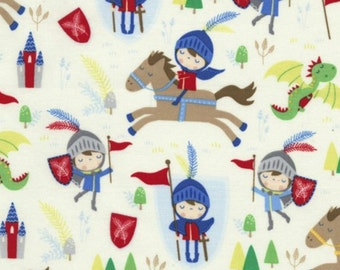 Knights and Horses Fabric - Cream - sold by the 1/2 yard