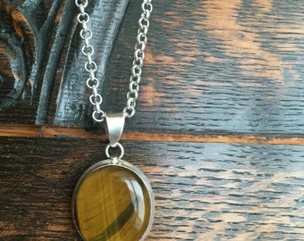 Sterling Silver Tigers Eye Pendant Necklace