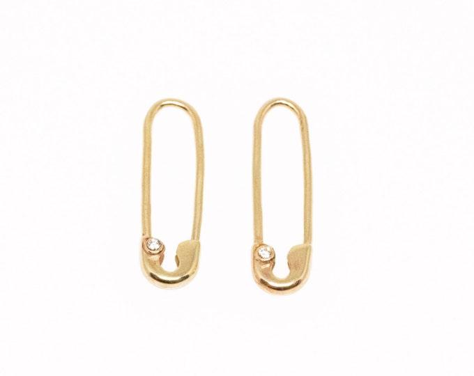 14 Karat Gold and Diamond Safety Pin Earrings (Pair)