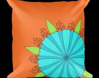 Blue Flower Pillow