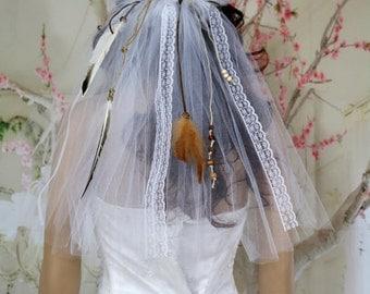 Boho headband veil. Rustic wedding veil. Feather veil. Braided veil. Boho veil. Wedding veil. Bridal veil. Ribbon veil