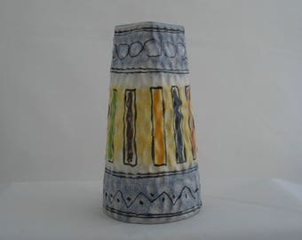 1960s Italian vase in the style of Fratelli Fanciullacci. Abstract design colourful mid-century vase for export market.