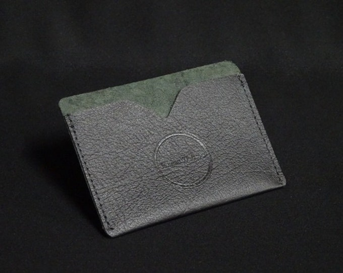 Pocket Wallet - Black Texture Firm - Kangaroo leather with RFID credit card blocking - Handmade - James Watson