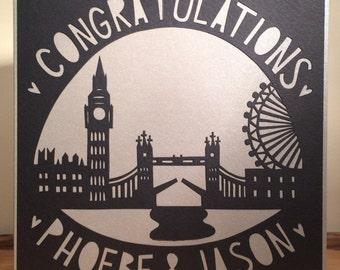London Skyline Card, Silhouette Card, Personalised Wedding Card,   Personalised Anniversary Card, Custom-Made Card, Paper Cut Card, Handmade