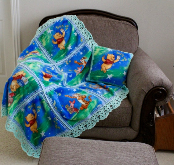 Fleece Baby Blanket With Lace Edging Crochet Pattern For Girls