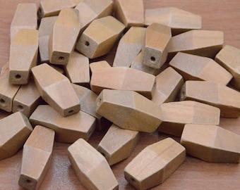 20pcs 33x15mm geometric wood bead big facted wooden  bead chain link  long wood link  wood chain link  wood bead polygon